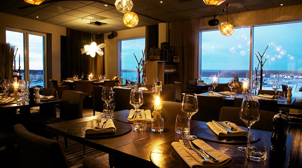 Enjoy the amazing view from the Kitchen & Table hotel restaurant at Sense Hotel in Lulea
