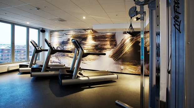 Modern and well-equipped gym at Sense Hotel in Lulea