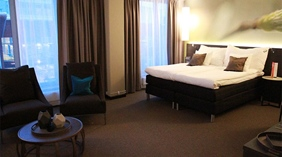 Stylish and spacious deluxe hotel room at Sense Hotel in Lulea