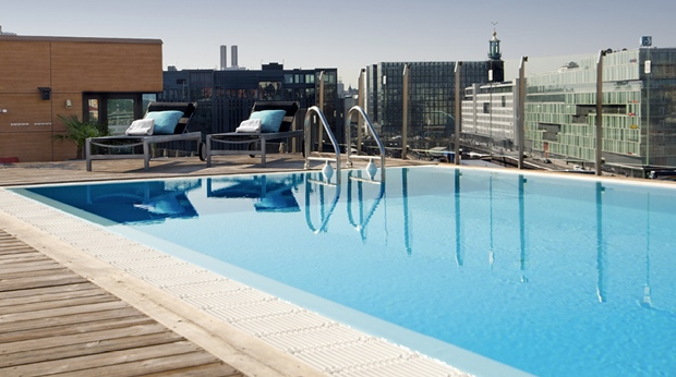 Astonishing rooftop pool area at Sign Hotel in Stockholm