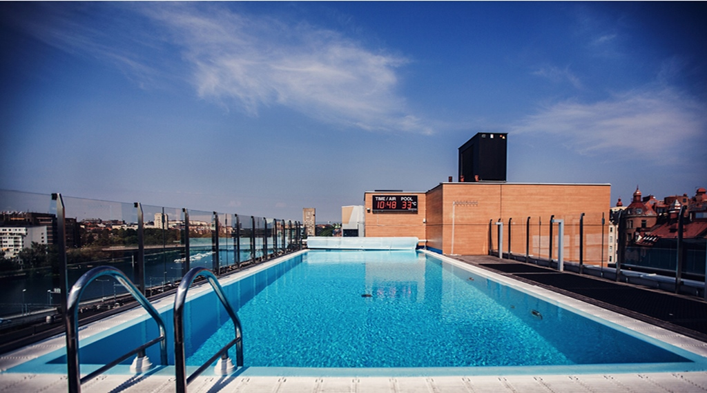 Large rooftop pool with a great view at Sign Hotel in Stockholm