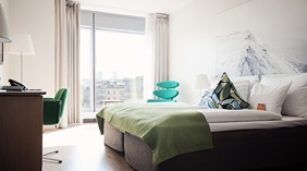 Elegant superior hotel room with a nice view of the city at Sign Hotel in Stockholm