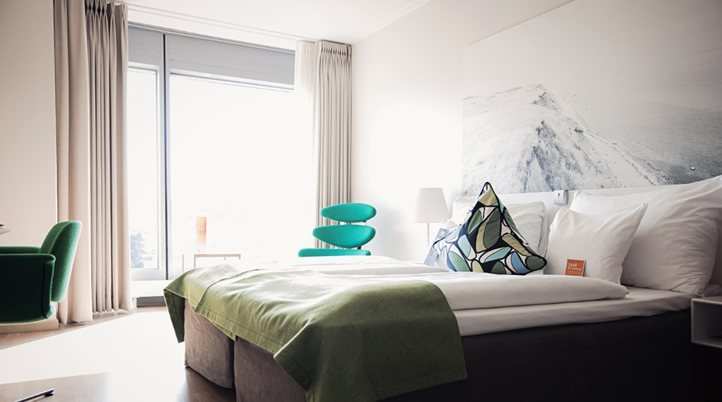 Bright and stylish superior hotel room with a great view at Sign Hotel in Stockholm