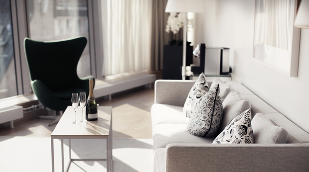 Trendy suite with designer furniture such as the Egg designed by Arne Jacobsen at Sign Hotel in Stockholm