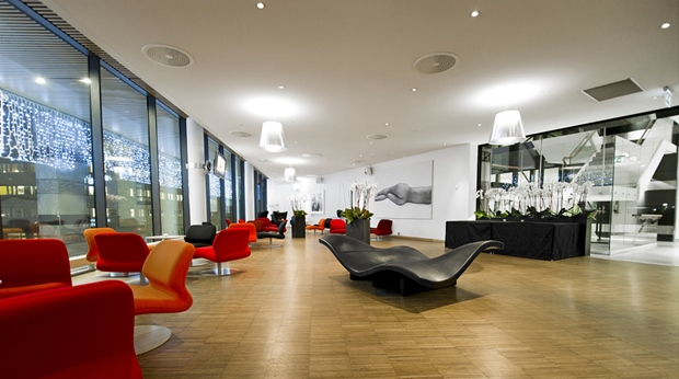 Spacious and well-designed lounge at Sign Hotel in Stockholm