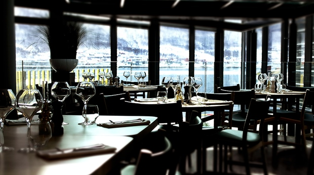 Hotel restaurant area with an amazing view of the fjord at The Edge Hotel in Tromso