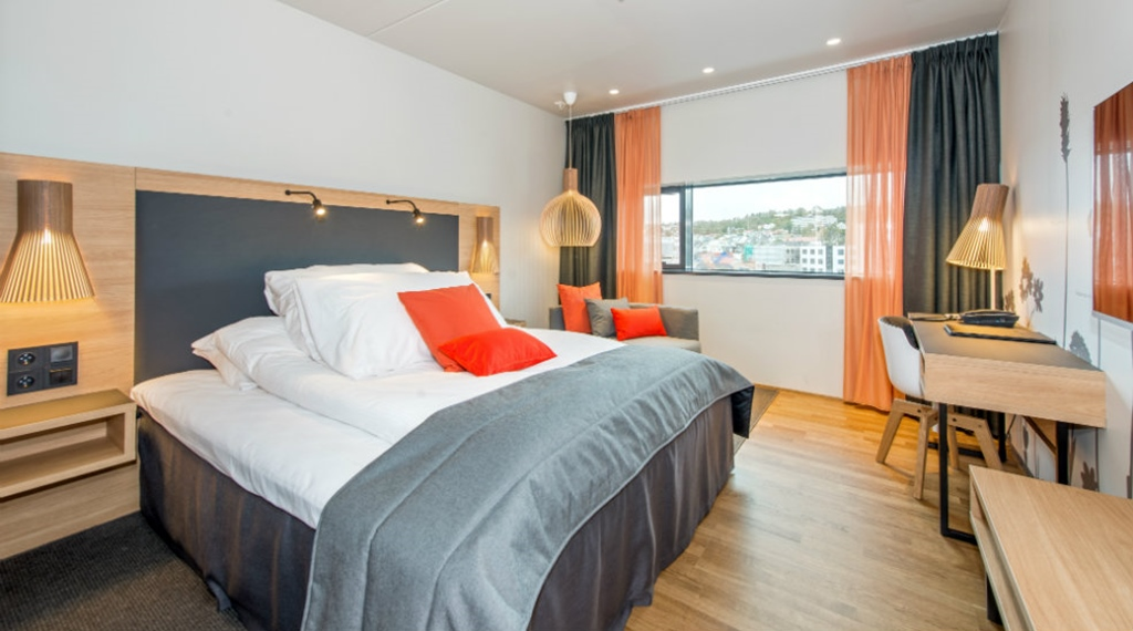 Spacious and well-furnished hotel room at The Edge Hotel in Tromso