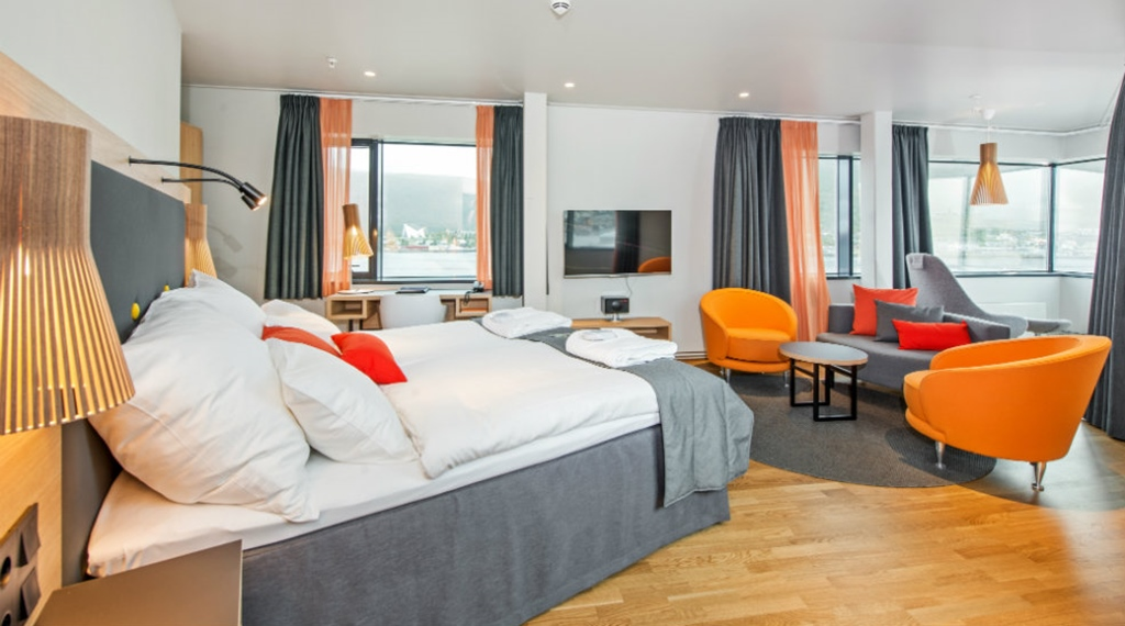 Extensive hotel suite with a great view of the fjord at The Edge Hotel in Tromso