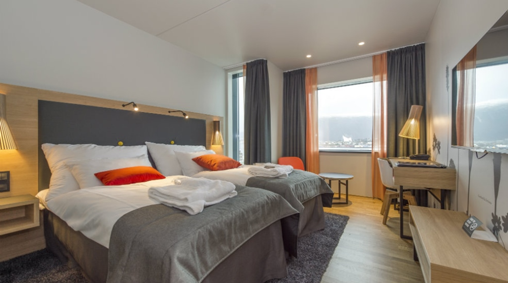Superior twin hotel room with two double beds at The Edge Hotel in Tromso