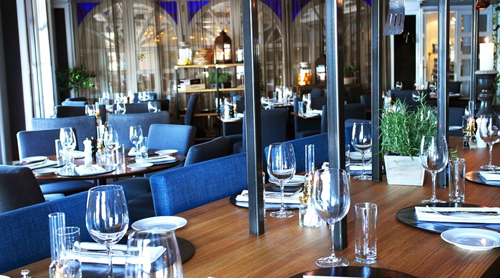 The stylish Kitchen and Table hotel restaurant at Tyholmen Hotel in Arendal