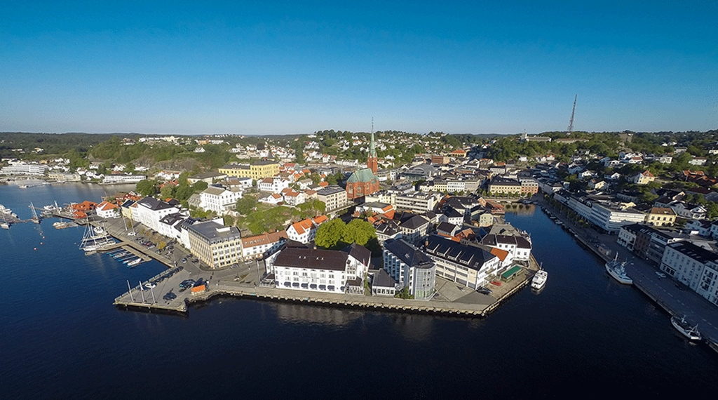 Aerial photo of the location and nearby attractions at Tyholmen Hotel in Arendal