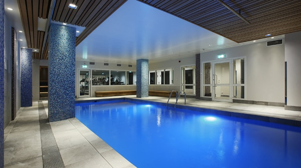 Large indoor pool at Winn Hotel in Gavle