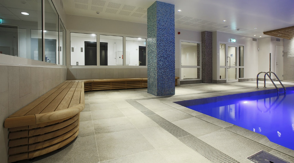 Modern and well-designed indoor pool area at Winn Hotel in Gavle
