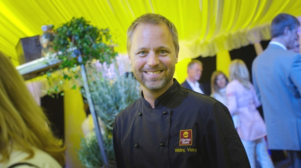 Smiling chef at an event at Wisby Hotel in Visby