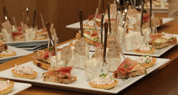 Delicious canapés food served at Wisby Hotel in Visby