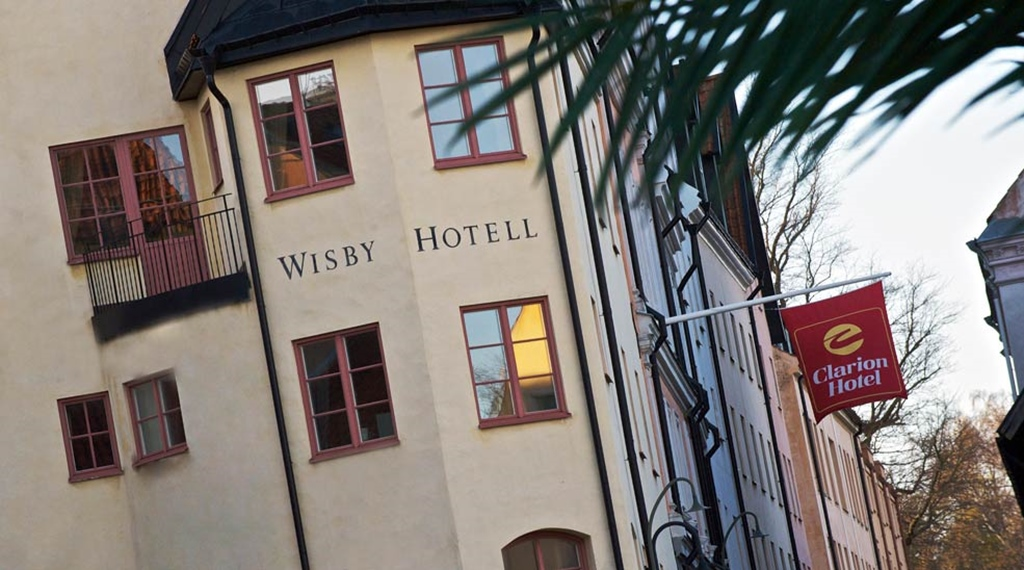 The facade of the Wisby Hotel in Visby