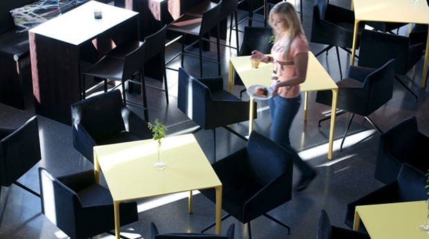Trendy restaurant interior at Comfort Hotel Union Brygge in Drammen