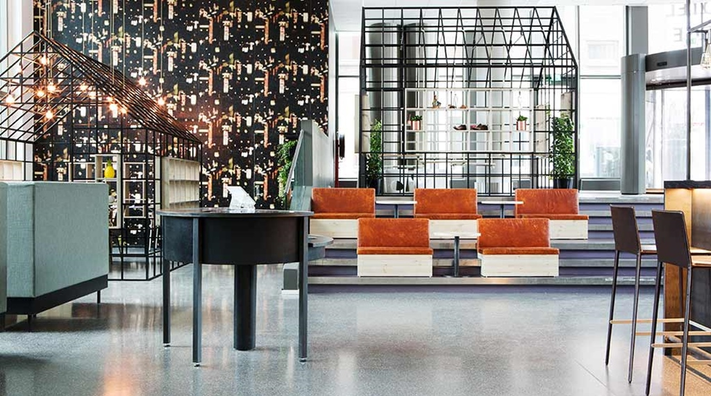 Lobby with interior design details sofas and chairs at Comfort Hotel Union Brygge in Drammen in Norway