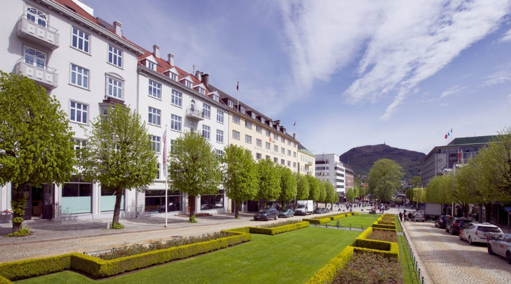 Impressive location and facade of the Oleana Hotel in Bergen
