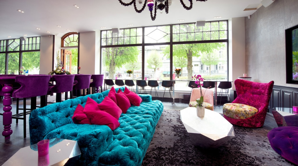 Spacious, hip and colourful lobby area at Oleana Hotel in Bergen