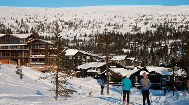 A spectacular view of the winter landscape at Norrefjell Ski & Spa Hotel in Norrefjell