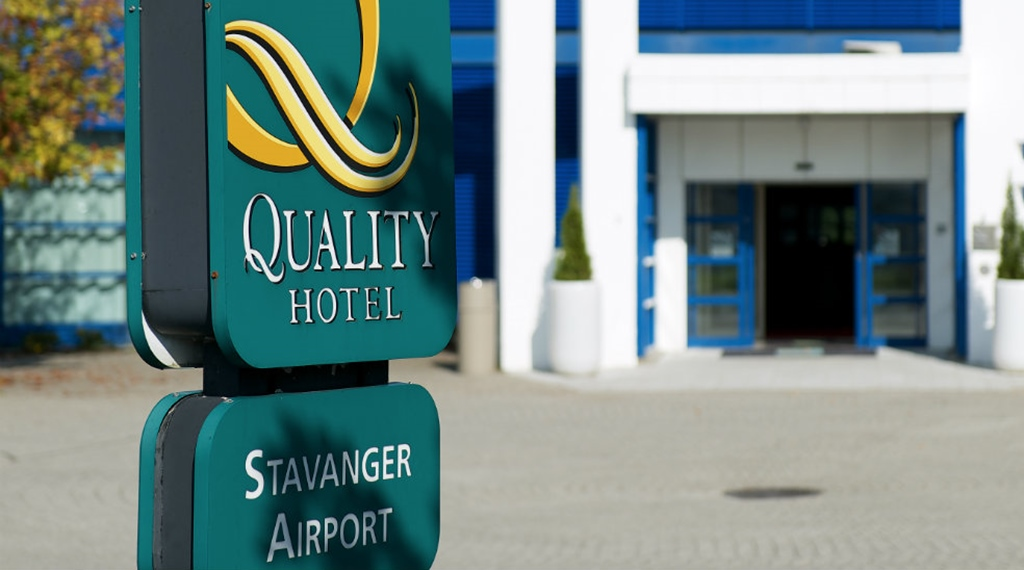 The hotel logo and sign at Quality Airport Hotel Stavanger