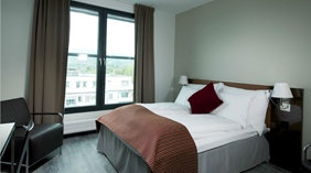 Stylish superior double hotel room with a nice view at Quality Airport Vaernes Hotel in Stjordal