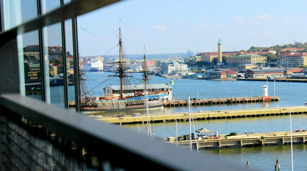 Enjoy the impressive view of the harbour to the east from the hotel suite at Quality Hotel 11 in Gothenburg