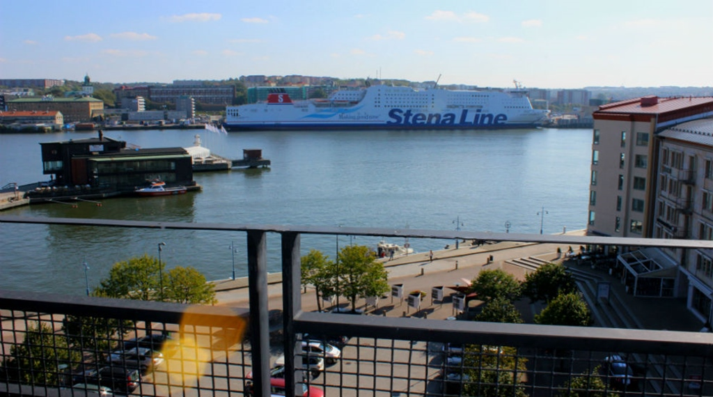 The perfect view of Gothenburg's harbour from the suite terrace at Quality Hotel 11 in Gothenburg