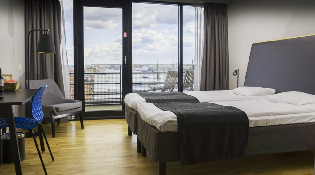 Hotel room with a private terrace and a great view of the city at Quality Hotel 11 in Gothenburg