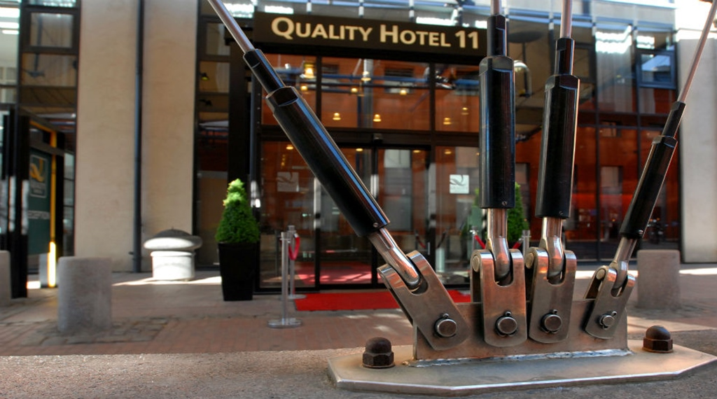 The distinctive entrance at Quality Hotel 11 in Gothenburg