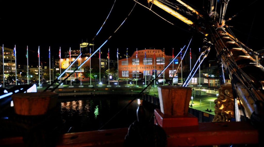 The stunning view of the Gothenburg harbour during the night at Quality Hotel 11 in Gothenburg