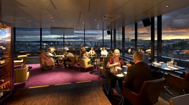 The elegant top floor hotel restaurant and impressive view at Quality Hotel 33 in Oslo