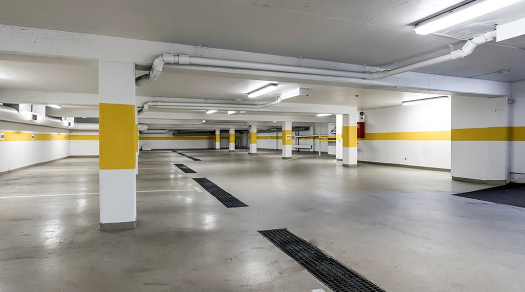 Parking spaces in the garage at the Quality Hotel Alexandra