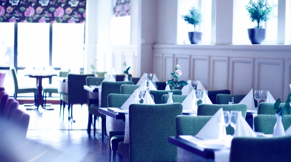 The elegant first-class hotel restaurant at Quality Augustin Hotel in Trondheim