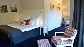 Well-designed and peaceful superior double hotel room at Quality Dalecarlia Hotel in Tallberg