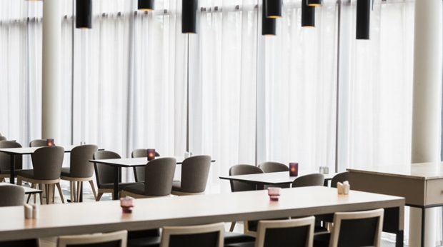 A look at the minimalistic restaurant interior design at Quality Edvard Hotel in Bergen