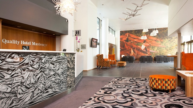 The extraordinary lounge and reception at Quality Mastemyr Hotel in Kolbotn