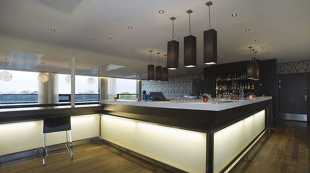 The extensive top floor hotel bar at Quality Hotel Frederikstad