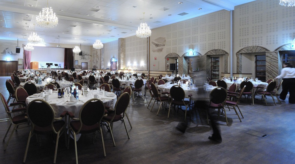 The elegant Royal Hall set up for a classy banquet at Quality Grand Hotel in Narvik