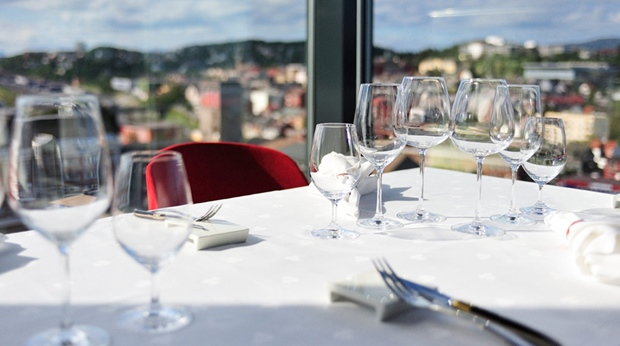 Restaurant with a great view of the city at Quality Grand Hotel in Narvik