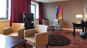 Superior hotel room with large living room at Quality Grand Hotel in Narvik