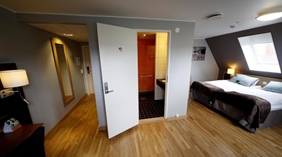 Stylish and charming deluxe double hotel room at Quality Saga Hotel in Tromso