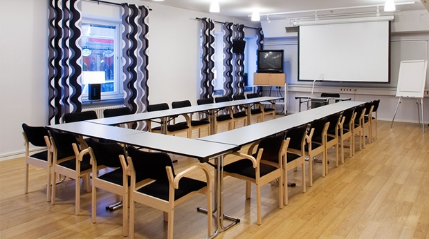 Modern and well-furnished hotel conference room at Quality Stadshotell Hotel in Skelleftea