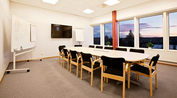 Modern and well-equipped meeting room with an amazing view at Quality Stadshotell Hotel in Skelleftea