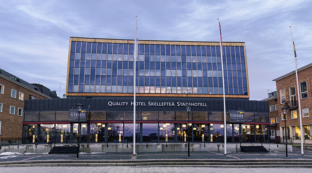 The hotel facade of the Quality Stadshotell Hotel in Skelleftea