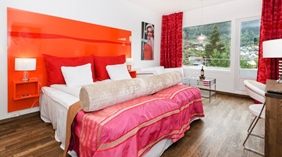 Colourful superior double hotel room with an amazing view of the mountains at Quality Hotel Sogndal