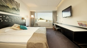 Well-furnished superior double hotel room with a nice view at Quality Strand Hotel in Gjovik