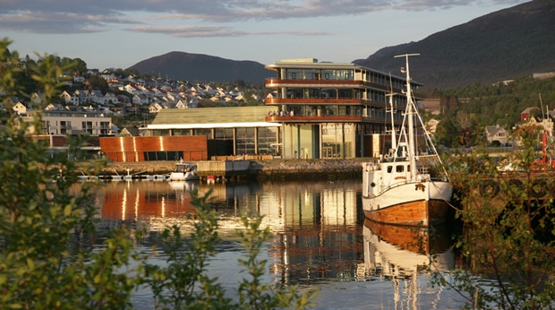 The iconic facade of the Quality Ulstein Hotel in Ulsteinvik