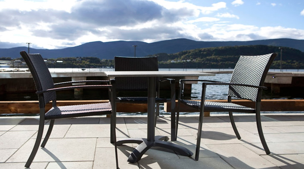 The Amazing Outdoor Terrace Right By The Waterfront At Quality Waterfront Hotel In Alesund